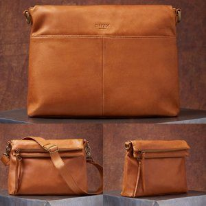 Margot Mickey Double Zip Cognac Leather Hobo Bag